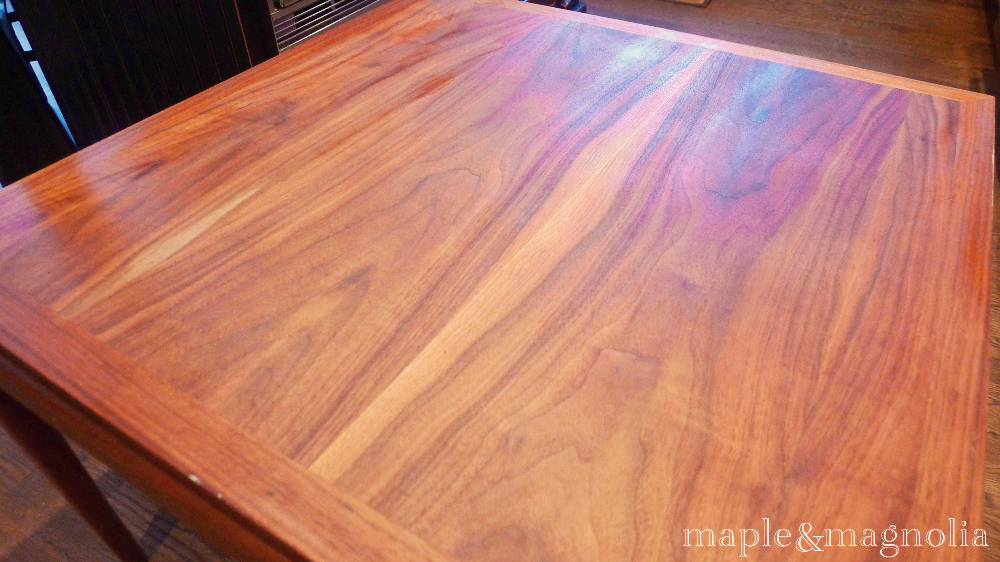 Next Comes The Stain Dark Walnut Of Course Apply With A Staining Pad For Beautifully Even Coverage